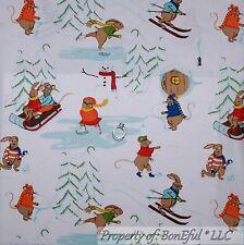 BonEful FABRIC Cotton Quilt Girl Ski Ice Skate Snow*man Xmas Tree Mouse FQ SCRAP