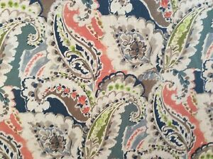 PAISLEY PRINTED LINEN CORAL SLATE BLUE TAUPE LIME  DRAPERY UPHOLSTERY FABRIC