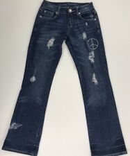 COWGIRL TUFF CO. PEACE Low Rise Bootcut Distressed Stretch Denim Jeans Size 26