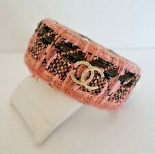 Authentic CHANEL Pink Tweed Bangle Designer Bracelet $775