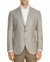 L.B.M. 1911 Mens Trim Fit Silk & Wool Houndstooth Sportcoat 44L (IT 54) Taupe