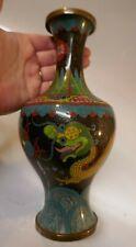 Vintage Chinese Multi-Color Cloisonné Vase - Dragon Design