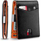 Men Slim Wallet with Money Clip RFID Blocking Bifold Front Pocket Wallet Leather