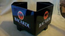 Bacardi Rum Hard Plastic Utensil, Straw, Napkin Holder, Black with logos
