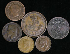 Lot of 6 Old World Foreign Coins Canada France Beligum Italy 1800s 1900s