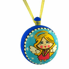 """Angel Christmas Tree Wooden Ball Hand Painted Russian Ornament   3 1/4 """""""