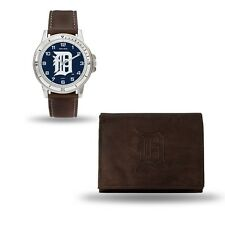 Detroit Tigers Watch and Wallet Gift Set - MLB Brown Leather Stainless Steel