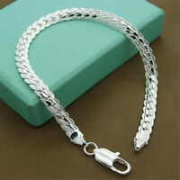 925 Solid Silver Bracelet Fashion Jewelry Women 5MM Snake Chain Bangle Gifts NEW