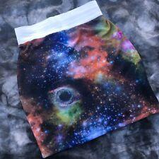 Womens Galaxy Print Mini Skirt Size Small Medium
