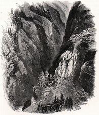 VIA MALA 1880 Germany Hinterrhein narrow gorge ANTIQUE ENGRAVING