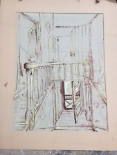 Original Watercolor Painting Interior Old House Crumbling Door Signed