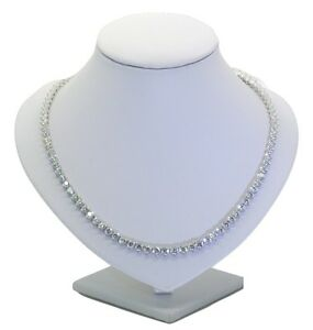 Tennis Riviera Necklace In 925 Sterling Silver 23.5 Carat 5A Cubic Zirconia 4mm