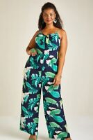 Navy Yumi Curves Tropical Palm Print Tie Knot Jumpsuit