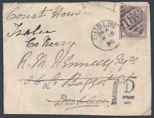 UK GB IRELAND 1890 DUBLIN COVER FRONT WITH ID POSTAGE DUE MARKING FOR REROUTING