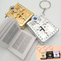 Mini English HOLY BIBLE Keychain Religious Christian Jesus Cross Keyring Bag Lot