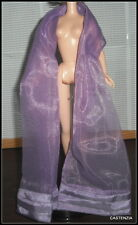 SCARF MATTEL 2003 BARBIE DOLL PURPLE LAVENDER SHEER PLEATED EDGE WRAP ACCESSORY