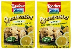 Quadratini Bite Size Wafer Cookies Lemon 2 Bag Pack