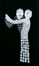 (W) SILVER TONE Dancing Ballroom Couple Love Prong Rhinestone Brooch Pin MOVES