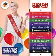 QUALITY PERSONALISED BIRTHDAY PARTY SASH FOR 30TH 40TH 50TH SILVER WRITING&
