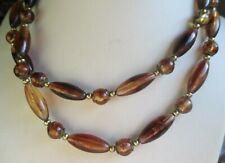 collier de perles résine couleur or et ambre style sautoir bijou vintage 5263