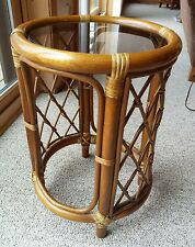 Vtg Rattan Bamboo Round Glass Top Table Tropical Tiki Bar Accent Wicker Weave