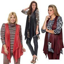 Damen Weste Lagenlook Große Größen Damenjacke Lederlook Bolero Jacke ohne Arm