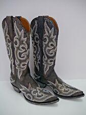 NEW OLD GRINGO Diego Swarovski Crystal brown leather cowboy boots size 6