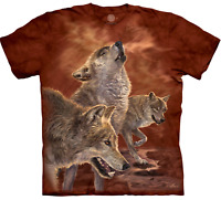 The Mountain Red Glow Wolves Grey Wolf Sunset Burgundy Animal Cotton Shirt S-3X