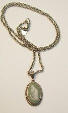 Vintage  Green Wedgwood & Sterling Pendant on PARADISE Necklace