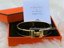 NIB Authentic Hermes PM H Clic Clac Black Enamel Gold GHW Bangle Bracelet