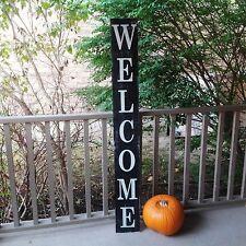 """Vertical Outdoor Welcome Sign Wood Signs Front Door Sign Front Door  54"""" Black"""