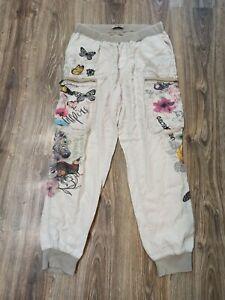 Desigual womens trousers Size-XL  Length 28 beige multi color