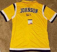 Magic Johnson Signed Los Angeles Lakers Mitchell & Ness Warmup Jersey PSA-ITP...