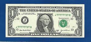 2003A CH/CU $1 FANCY BINARY NEAR SOLID LUCKY SEVEN NOTE SERIAL #J77777737B