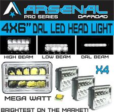 4x6 inch Pro Kenworth Peterbilt LED Rectangular DRL Sealed Beam Headlight 4pcs