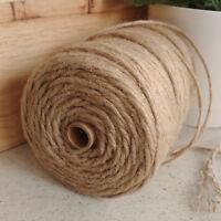 6-PLY 4mm Natural Jute Hessian Twine Cord String Ribbon DIY Decor Macramé 200m