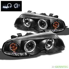 For 00-03 BMW E46 3-Series 2 DR 01-06 M3 Halo LED Blk Projector Headlights Lamp
