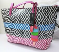 INC International Concepts Reyna Pink Black Large Tote Boho Stripe Popsicle Bag