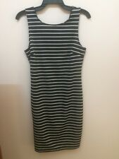 Black and White Open-Back Striped Dress