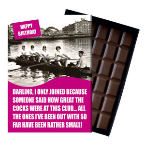 Novelty Chocolate Gifts Rowing Club Themed Rowers Funny Greeting Birthday Card