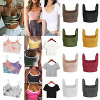 Women Knitted Tank Top Camisole Vest Sexy Backless Sleeveless Crop Tops T shirt/