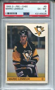 1985 OPC Hockey #9 Mario Lemieux Penguins Rookie Card RC Graded PSA Ex Mint 6