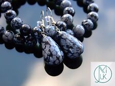 Snowflake Obsidian Natural Gemstone Earrings Drop Quartz Crystal Healing Stone
