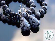 Snowflake Obsidian Natural Gemstone Earrings Drop Quartz Crystal Healing Stone