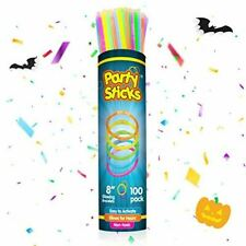 PartySticks Sticks Bulk Party Favors 100pk +Connectors 8In Glow in The Dark Neon