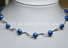 Natural 8-9mm Blue Freshwater Pearl Necklaces 16 inches JN516