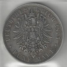 BAVARIA, GERMAN STATE, 1875-D,  5 MARK,  SILVER,  KM#896,  VERY FINE-EXTRA FINE