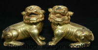 """4,8 """"vieille Chine cuivre or Feng Shui Foo Chien Lion Beast Luck Sculpture Paire"""