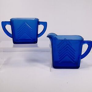 Depression Cobalt Blue Hazel FLAW Atlas Glass Chevron CreamerPitcher & Sugar