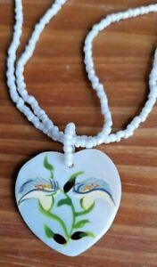 Painted Lily on White Mother of Pearl Heart Pendant & White Glass Bead Necklace